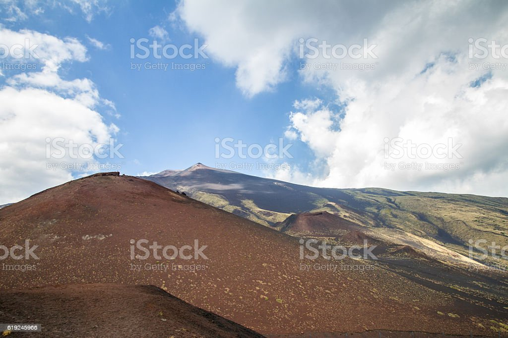 Silvestri craters of Mount Etna stock photo