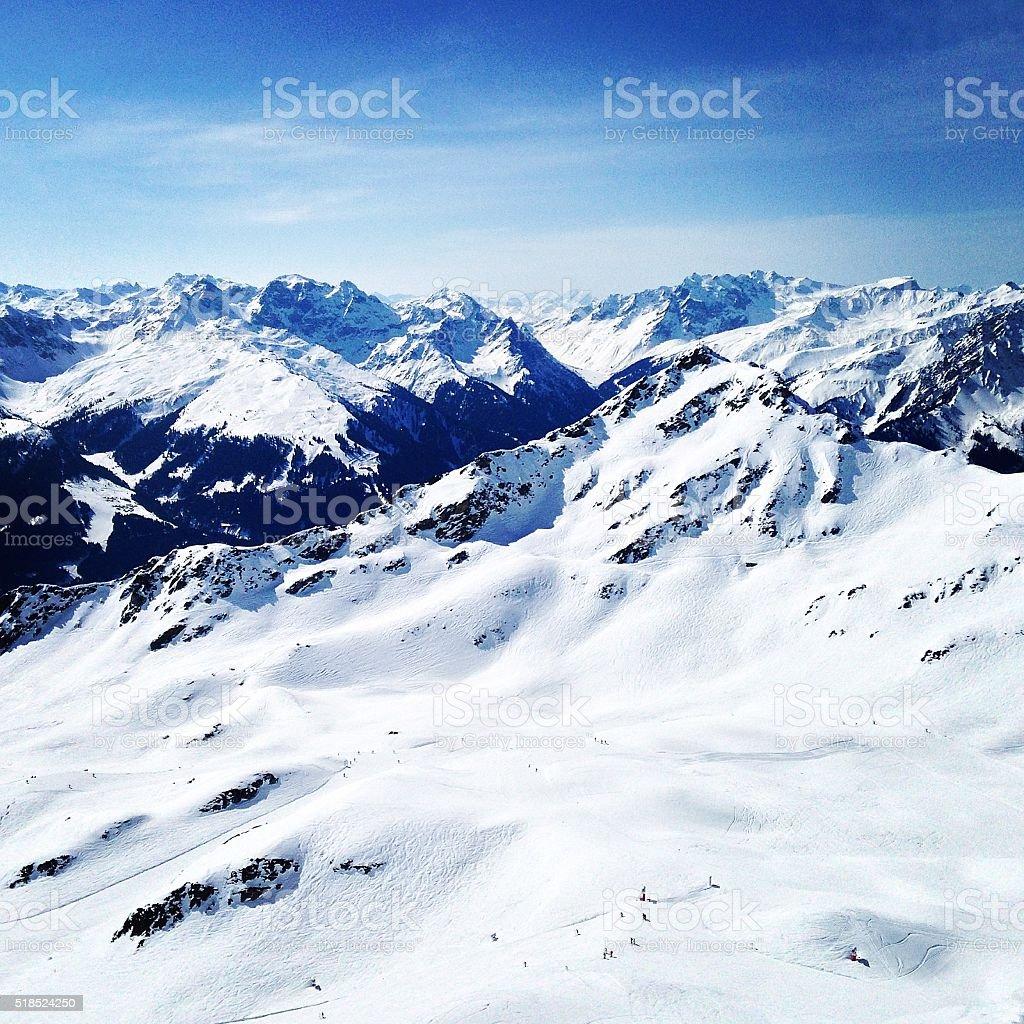 Silvretta Montafon in Winter stock photo