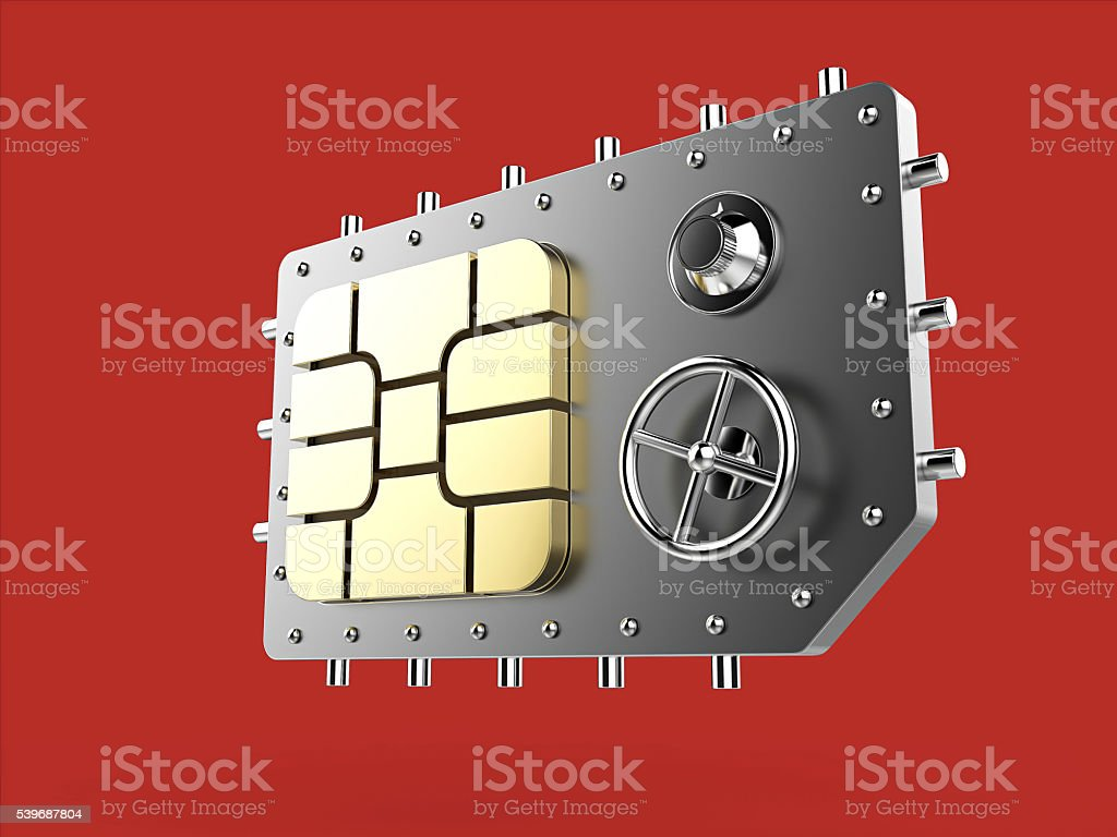 sim card as vault safe, mobile online connectivity security concept stock photo