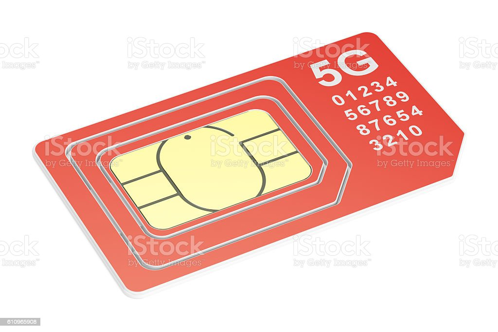 5G sim card mini, micro, nano. 3D rendering stock photo