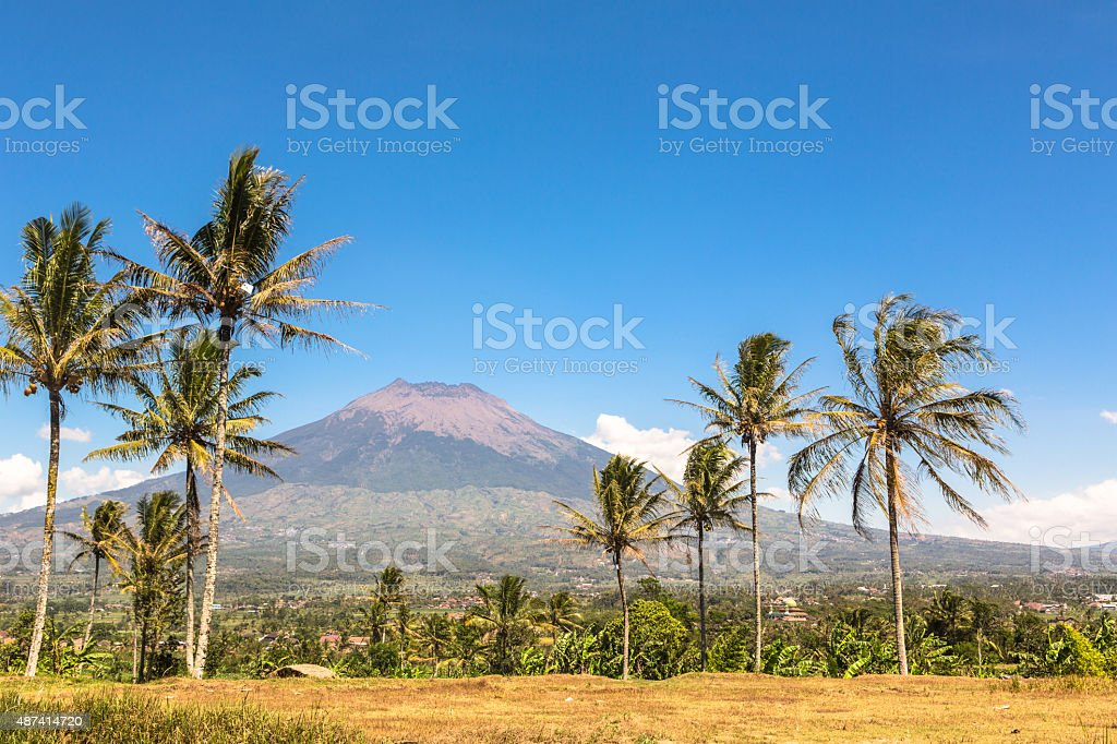 Simbung volcano in Java in Indonesia stock photo