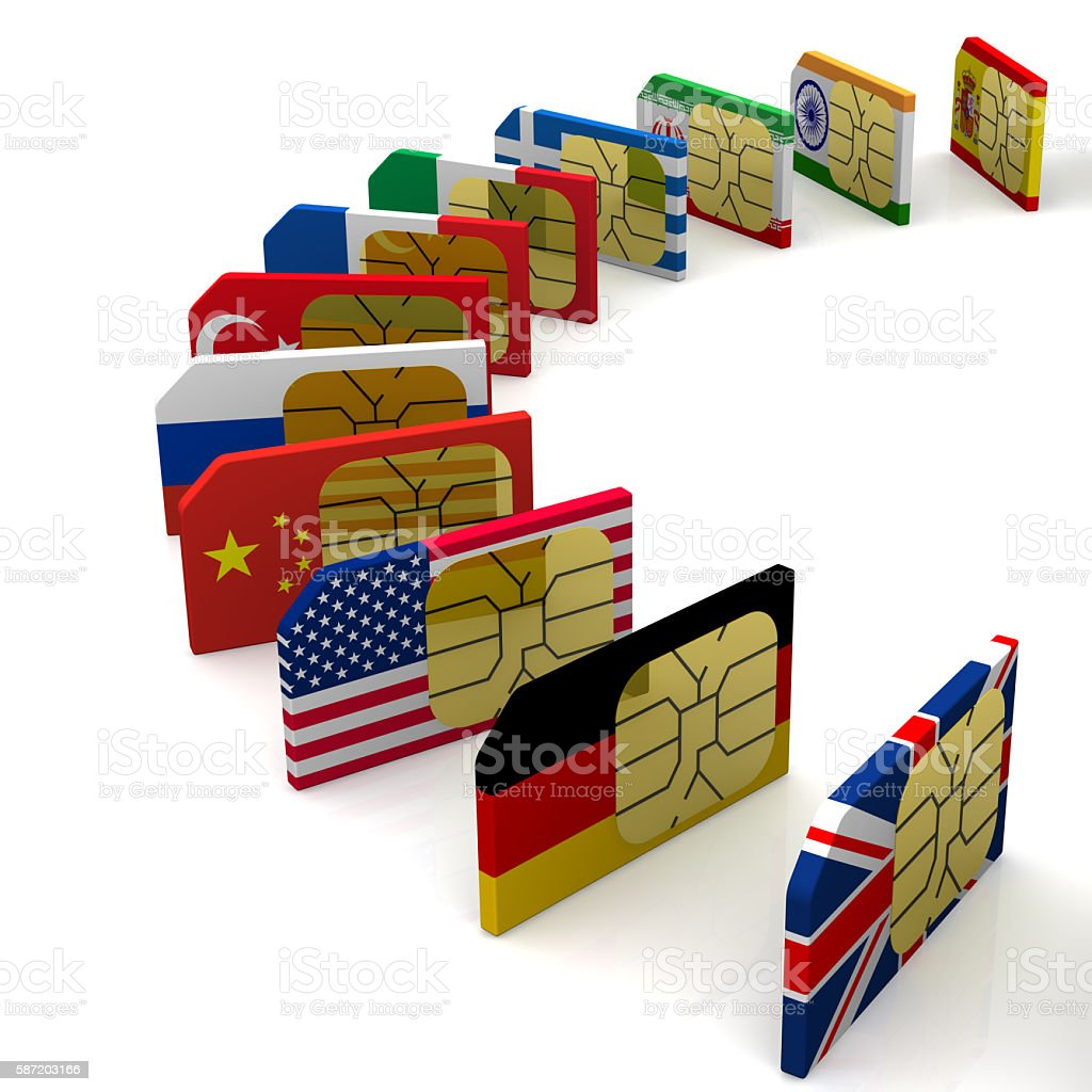 SIM-card of the various states stock photo