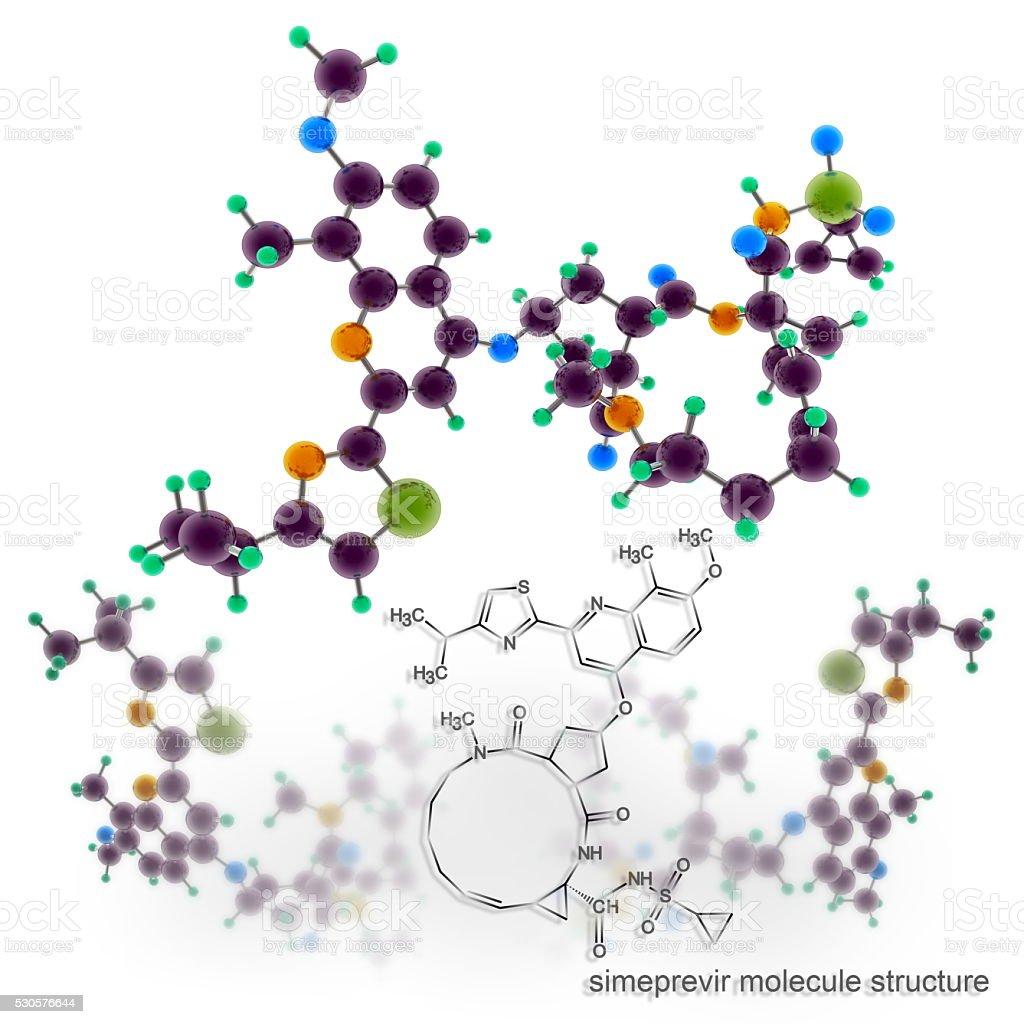 Simeprevir molecule atomic structure 3D rendering stock photo