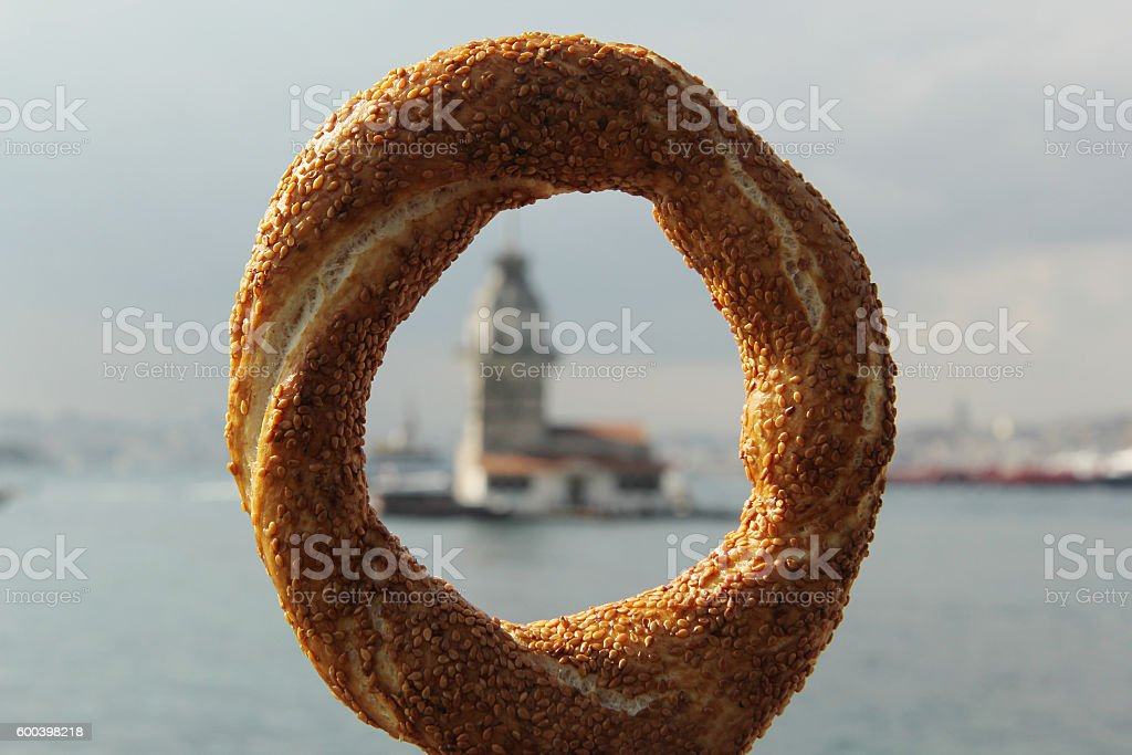 simit and maiden tower stock photo