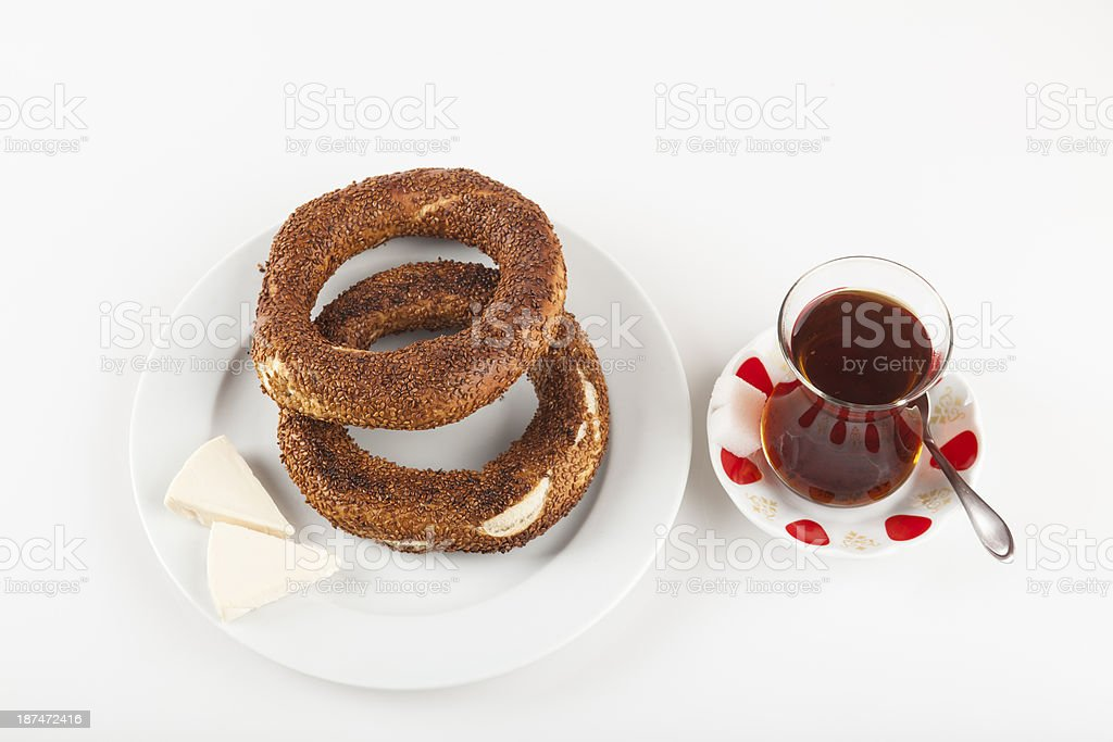 simit with cheese and ayran stock photo
