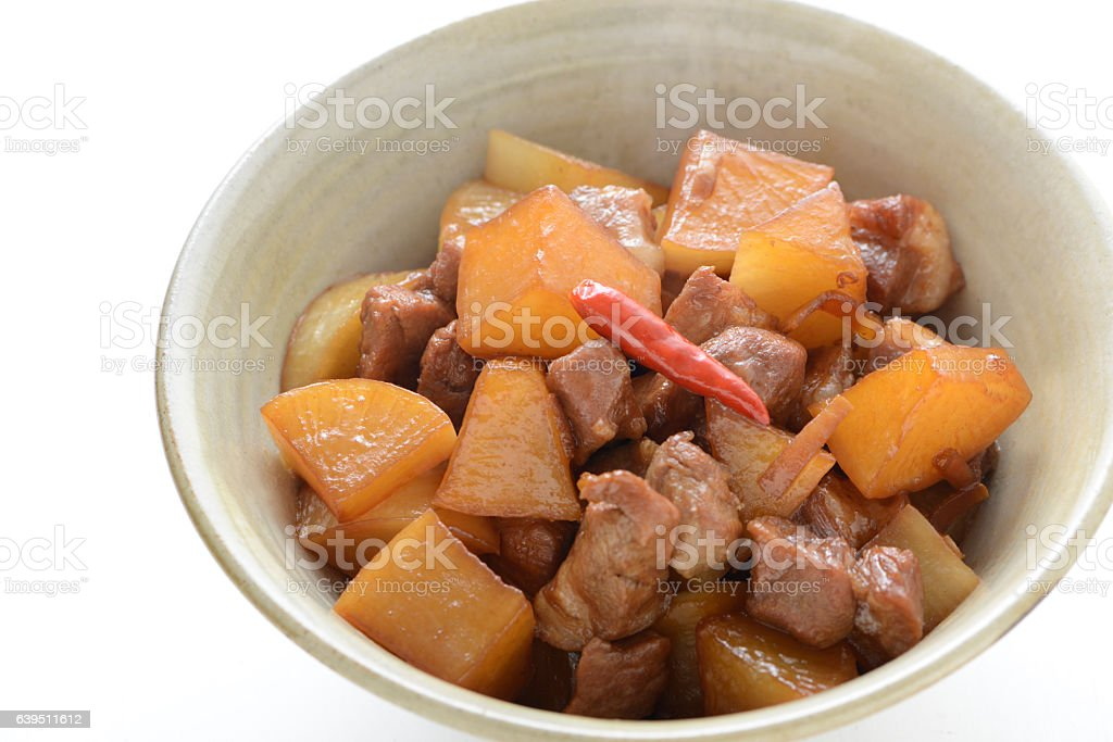 Simmered chicken and dikon stock photo