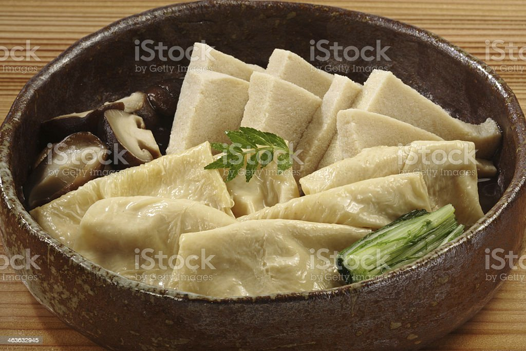 Simmered dishes of frozen dried tofu and soy milk skin stock photo
