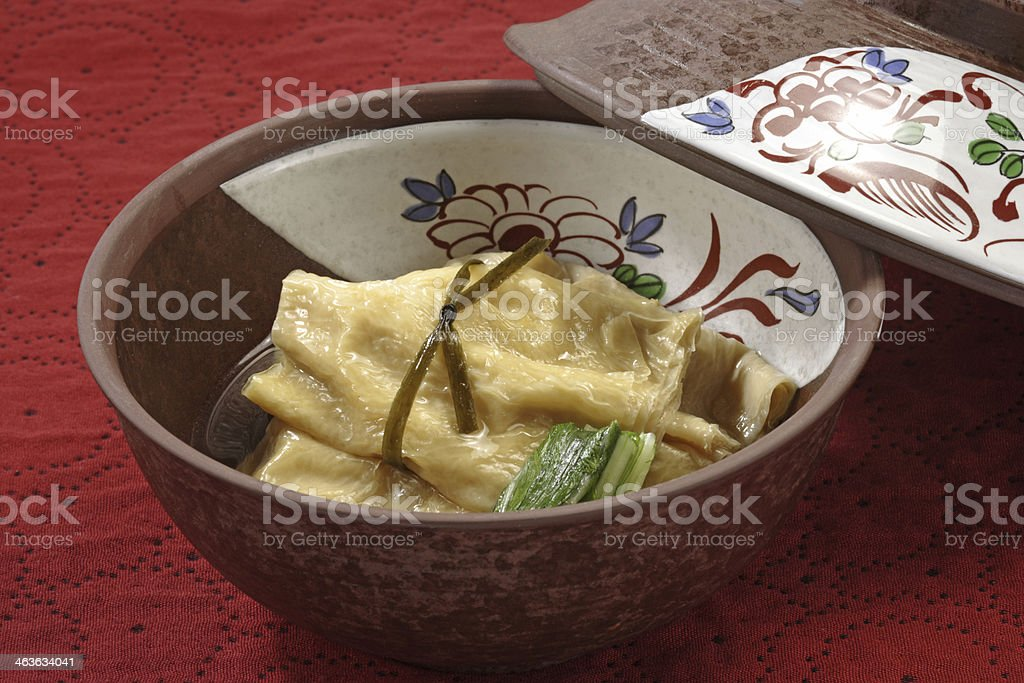 Simmered dishes of soy milk skin stock photo