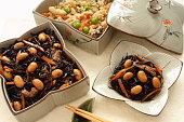 Simmered Hijiki Seaweed and Soy Pulp Okara, Japanese food