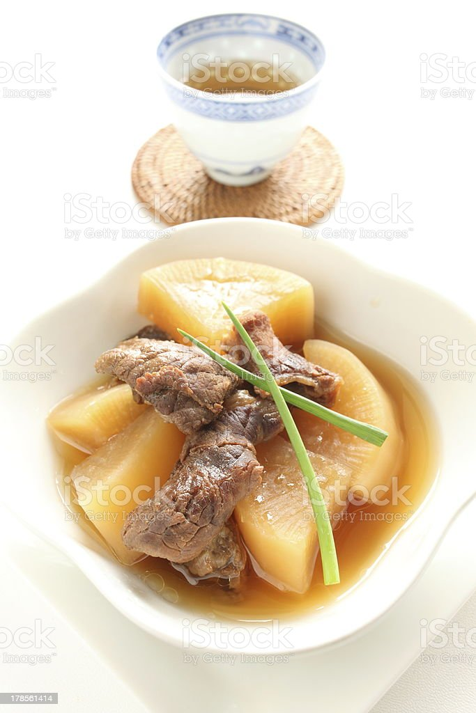 Simmered radish and beef tendon with tea royalty-free stock photo