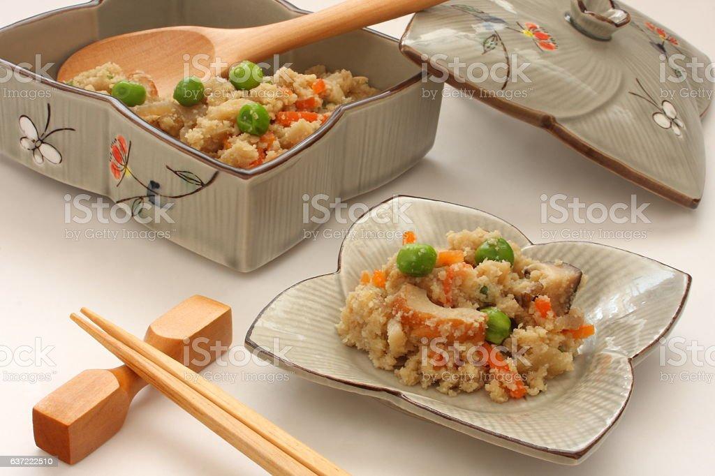 Simmered Soy Pulp Okara, Japanese food stock photo