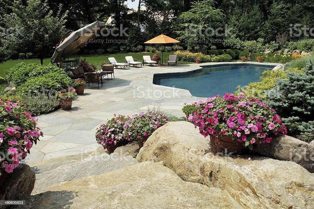 Simming Pool with Garden Umbrellas stock photo
