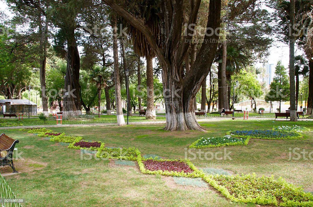 Parque Simón Bolívar in Sucre Bolivia stock photo