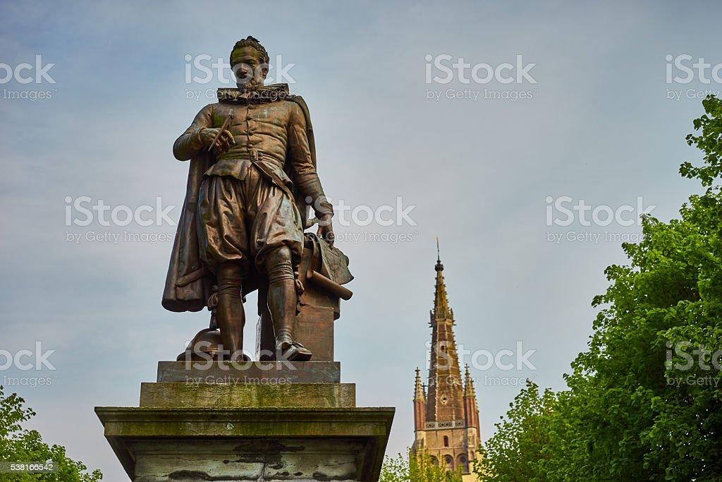 Simon Stevin Statue stock photo