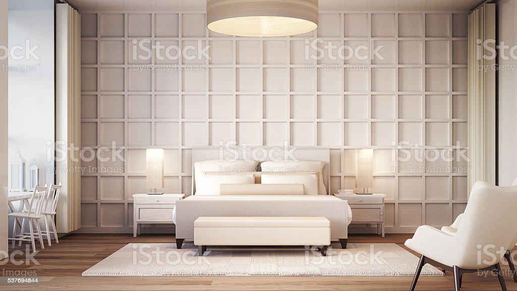 Simple and Luxury Bedroom hotel stock photo
