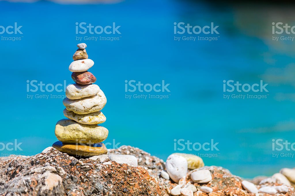 Simple art on the beach stock photo