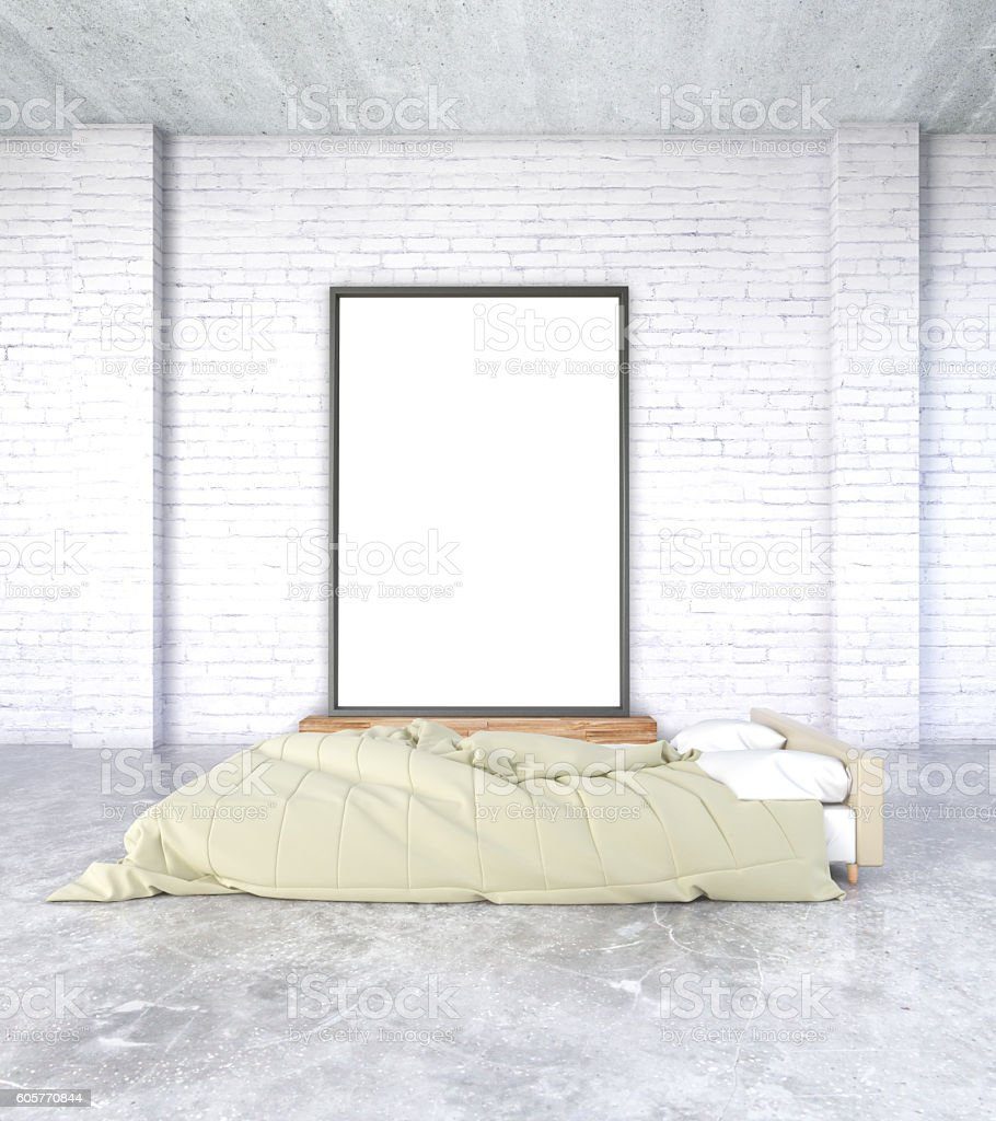 Simple bedroom with picture frame stock photo
