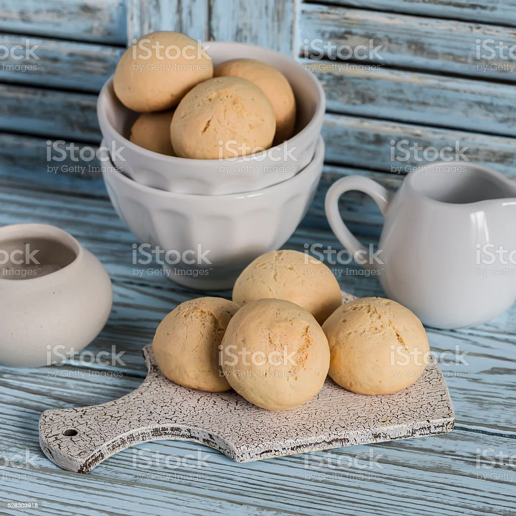 Simple biscuits on a light wooden background. stock photo