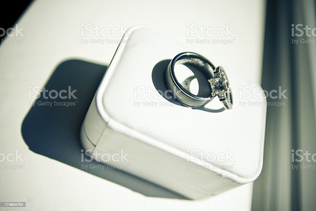 Simple Black and White of Wedding Engagement Rings on Box royalty-free stock photo