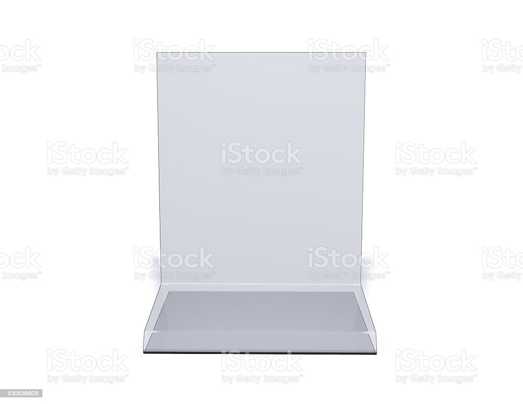 Simple blank marketing display standing on floor isolated on white. stock photo