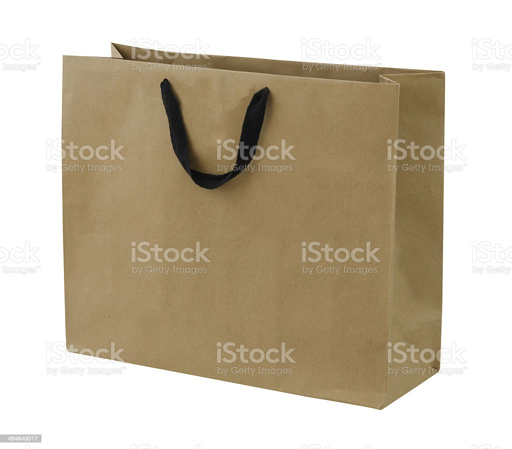 Simple browse recycled paper bag isolated on white background stock photo
