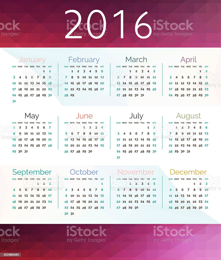 Simple calendar 2016.Abstract calendar for 2016.Week starts from stock photo