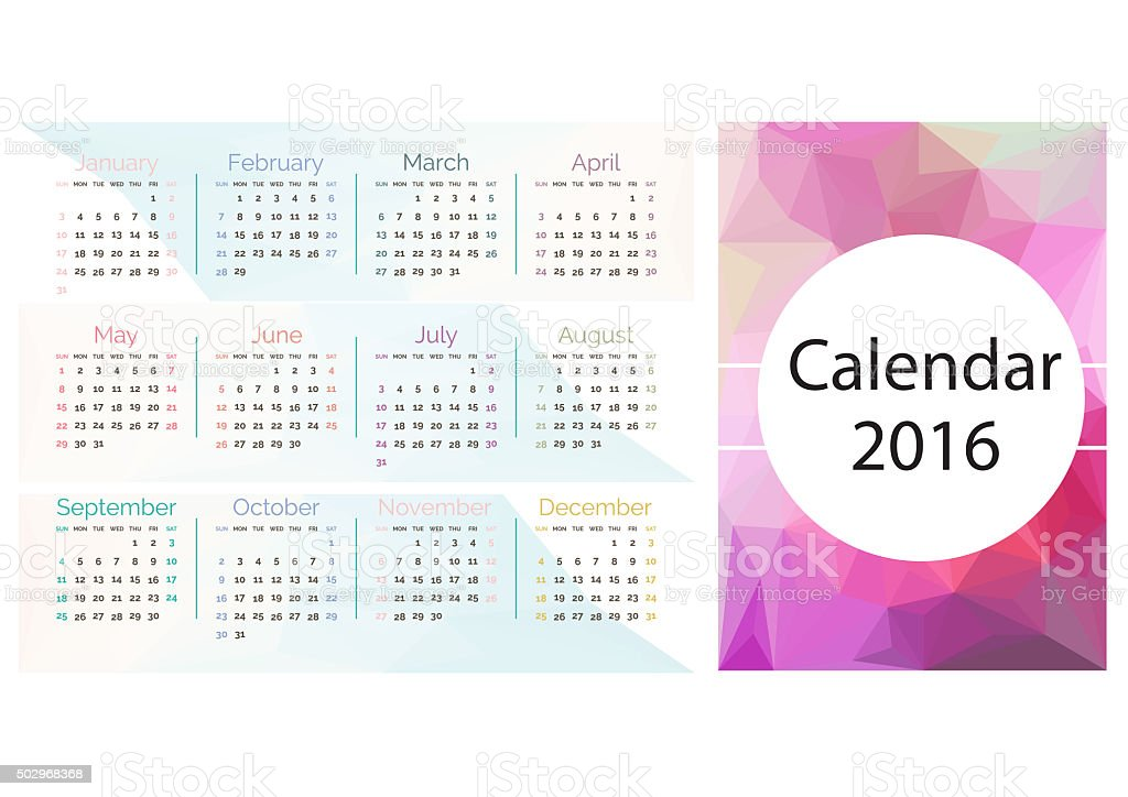 Simple calendar 2016.Abstract calendar for 2016.Week starts from sunday. stock photo