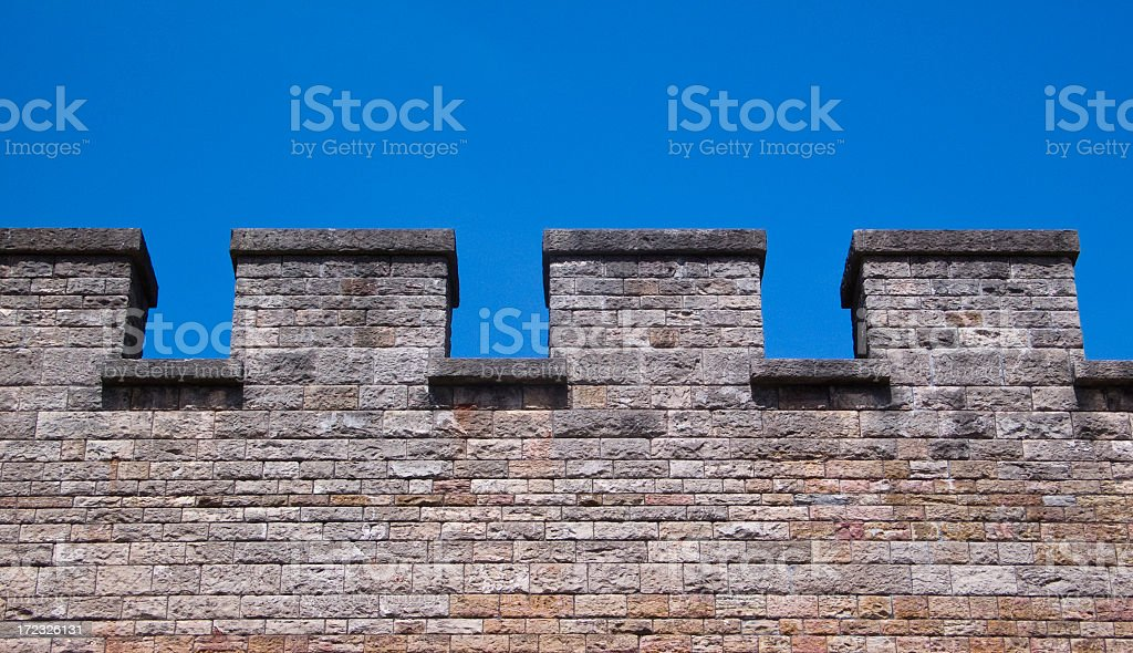 Simple Castle Wall Battlements stock photo