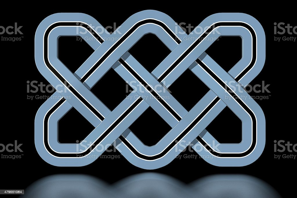 Botswana Celtic knot in national colours stock photo