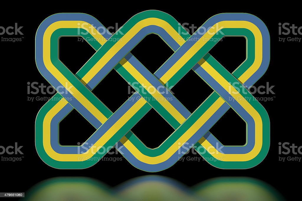 Gabon Celtic knot in national colours stock photo