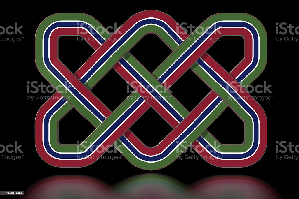 The Gambia Celtic knot in national colours stock photo