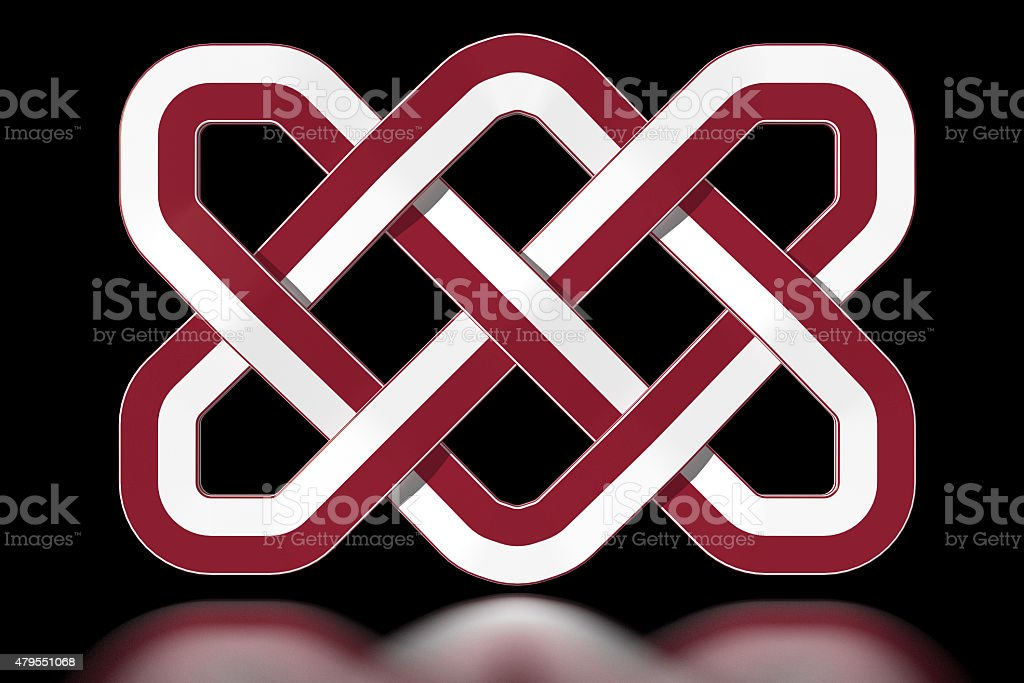 Indonesia Celtic knot in national colours stock photo
