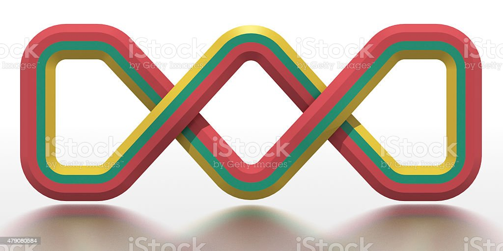 Celtic knot in the national colours of Lithuania stock photo