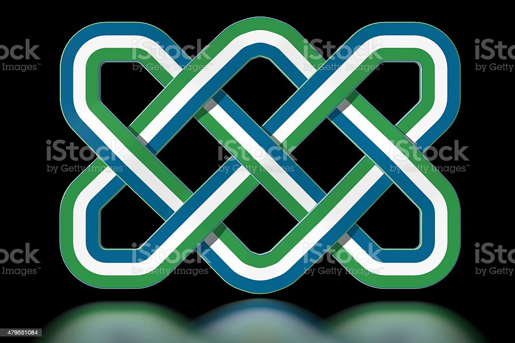 Sierra Leone Celtic knot in national colours stock photo