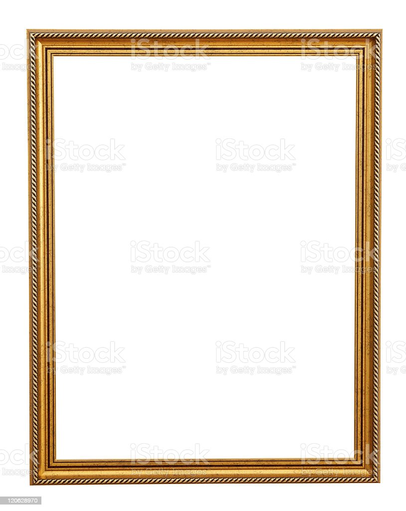 Simple classic gold frame on white background stock photo
