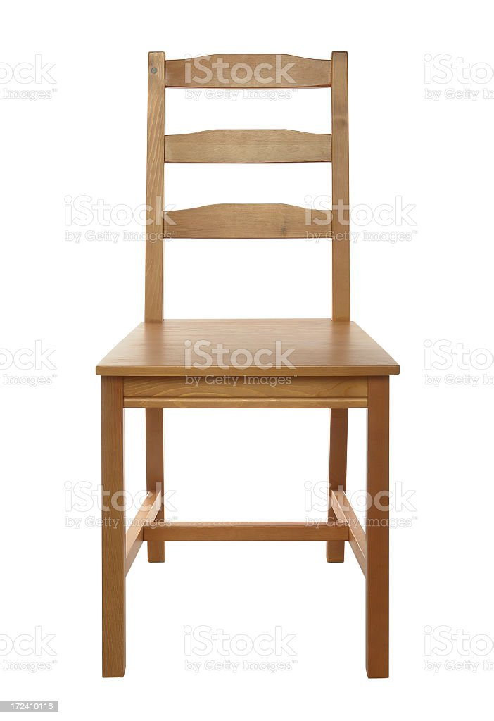 Simple, classical wooden chair isolated on white background, studio shot stock photo