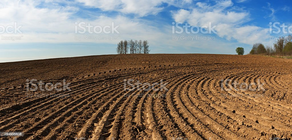 Simple country landscape with plowed fields. stock photo