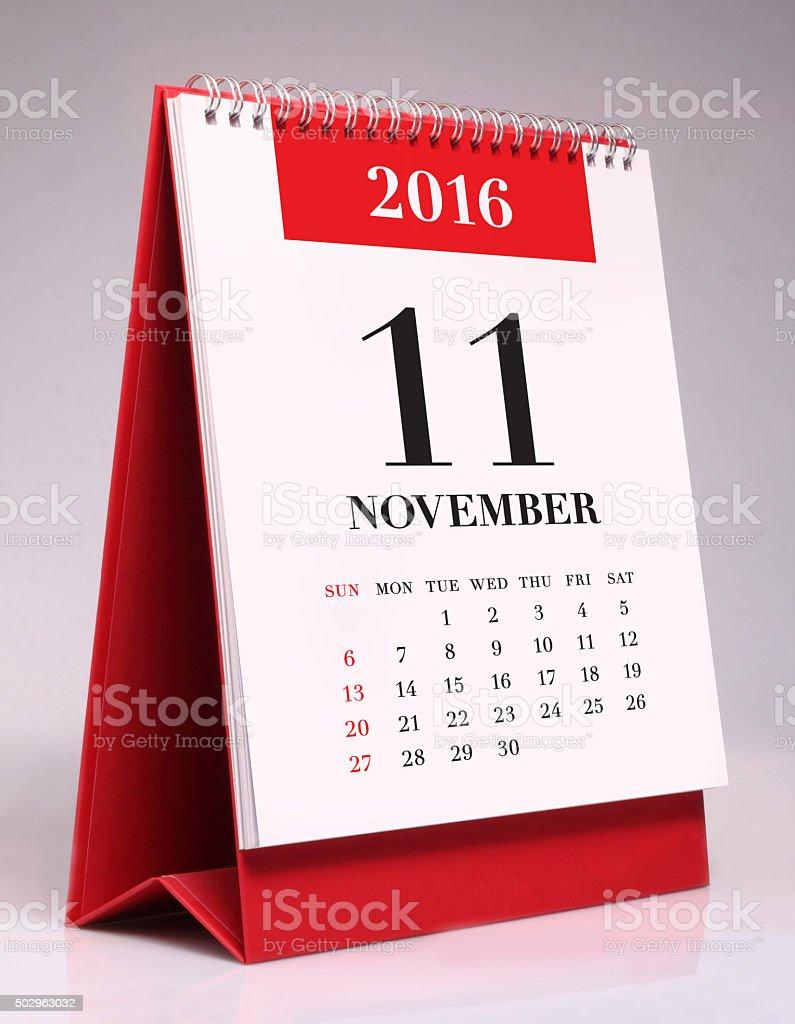 Simple desk calendar 2016 - November stock photo