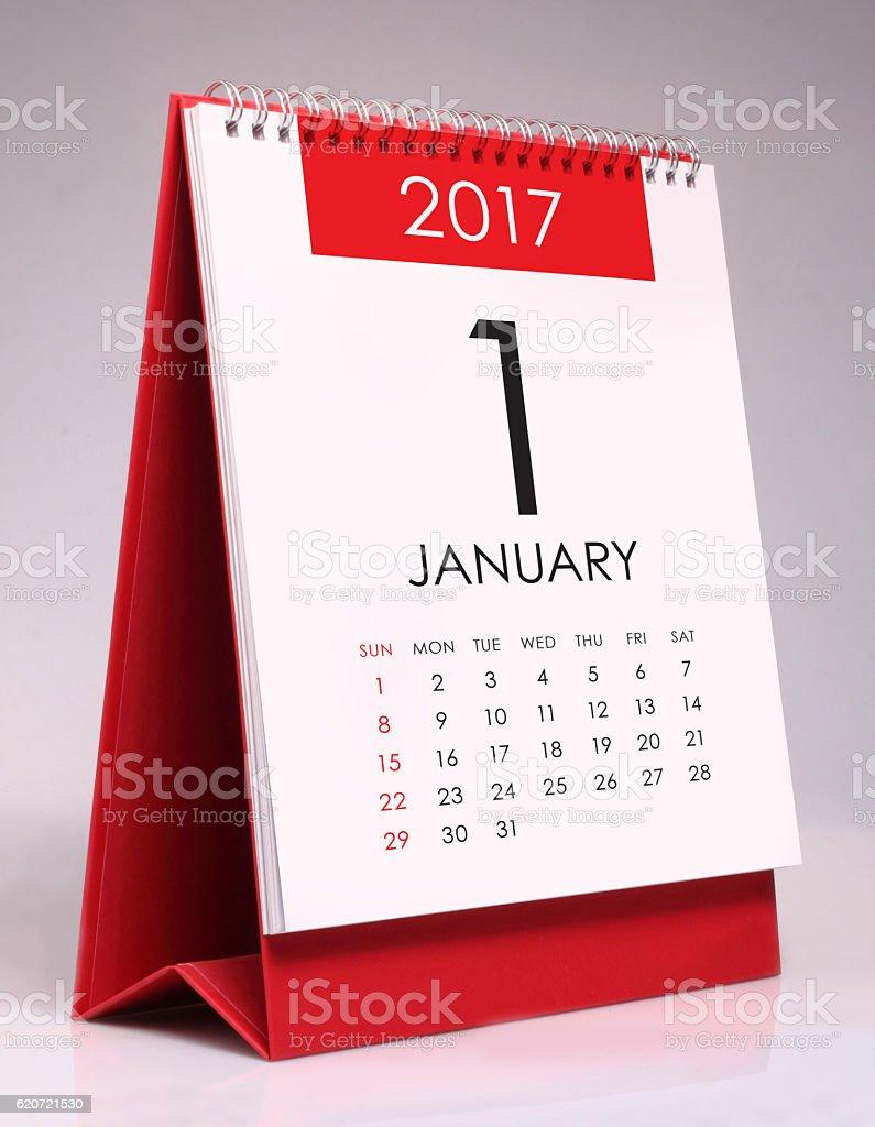 Simple desk calendar 2017 - January stock photo