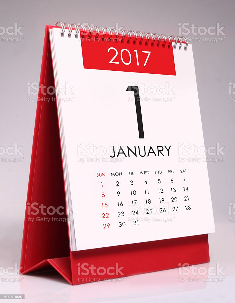 Simple desk calendar 2017 - January stock photo