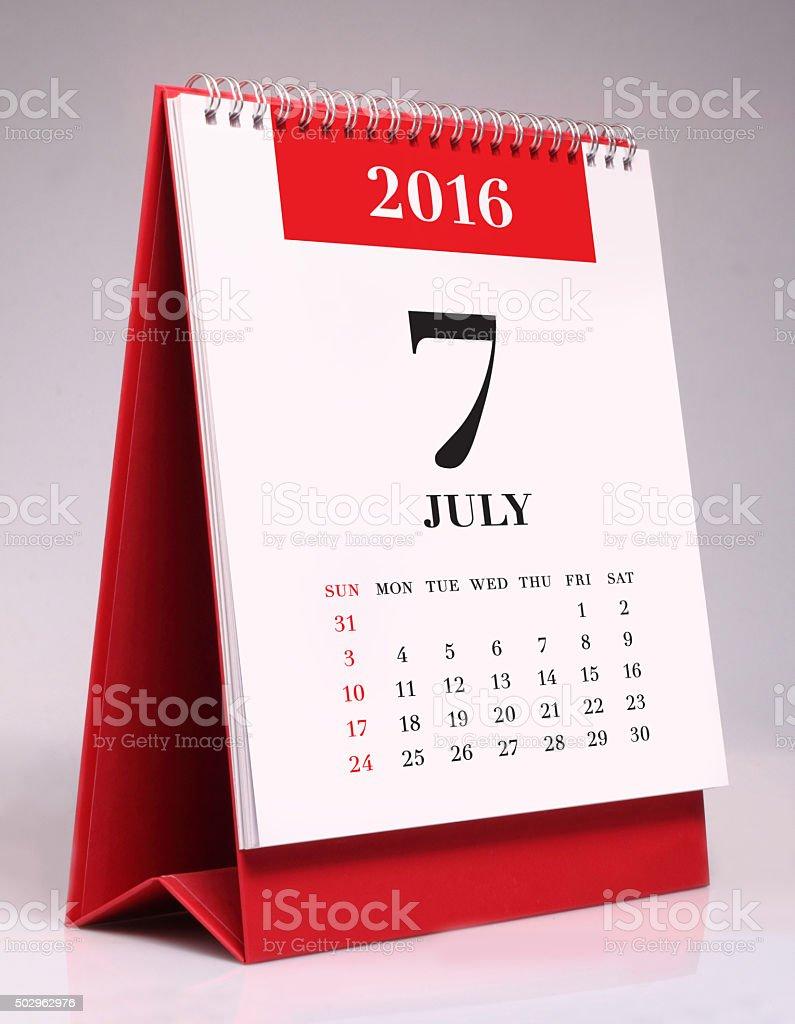 Simple desk calendar - July 2016 stock photo