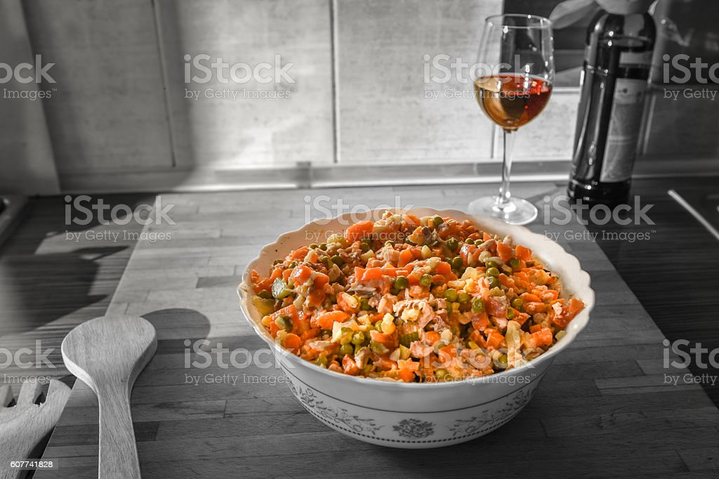 Simple dinner prepared in domestic kitchen,  Boeuf Salad and red stock photo