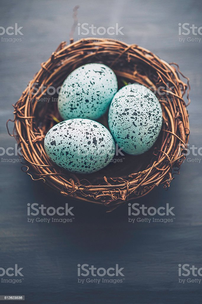 Simple Easter arrangement of speckled eggs in bird's nest stock photo
