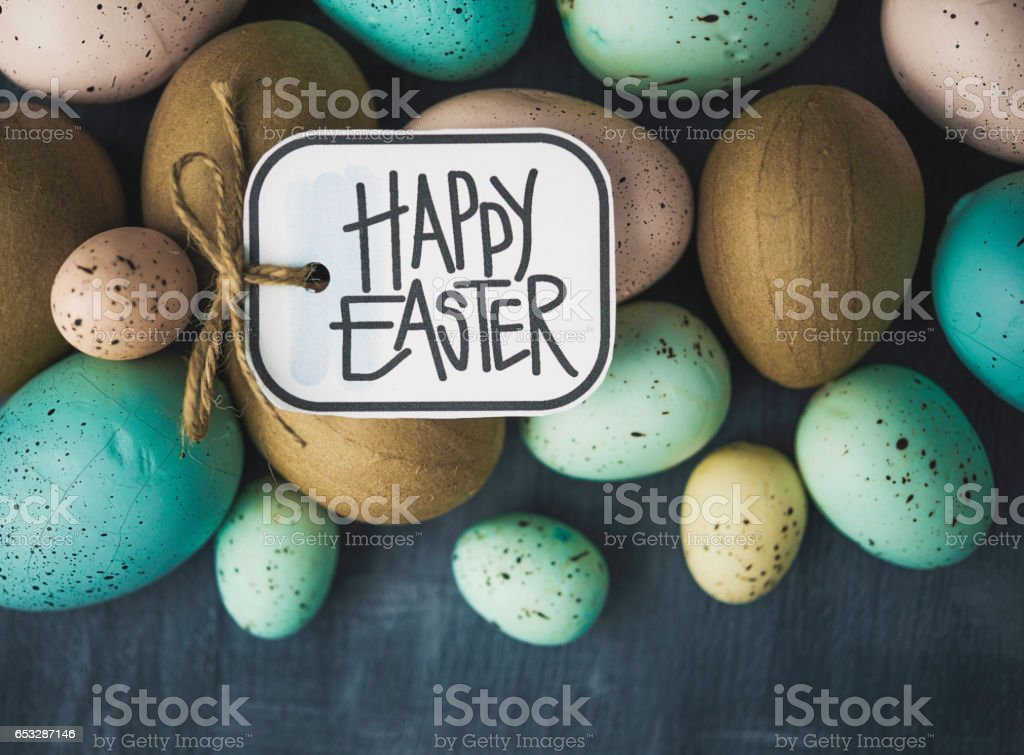 Simple Easter background with assorted Easter eggs stock photo