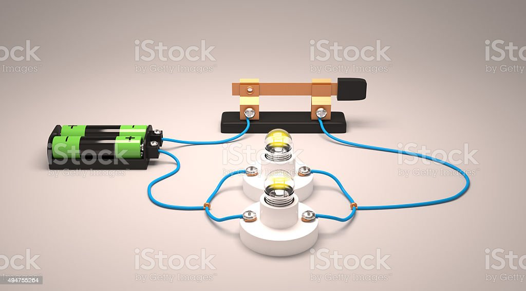 Simple electric circuit(parallel) stock photo