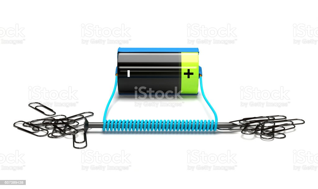 Simple electromagnet on a white background. stock photo