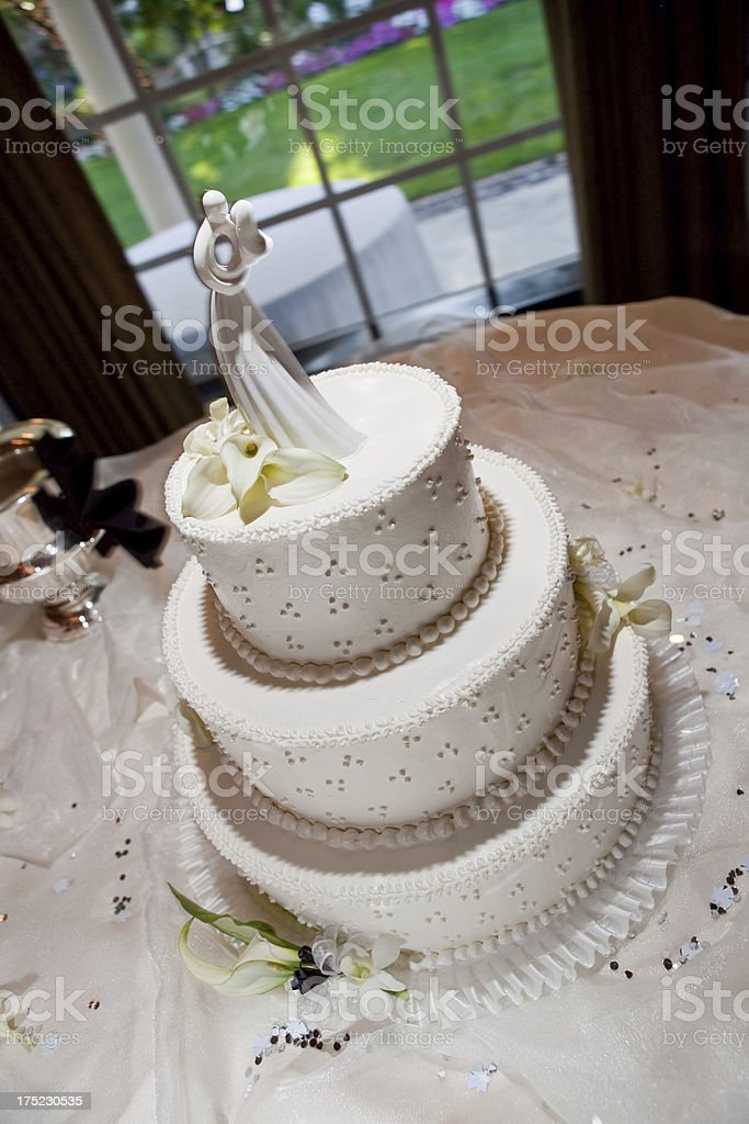 Simple Elegant White Wedding Cake with Dot Pattern royalty-free stock photo