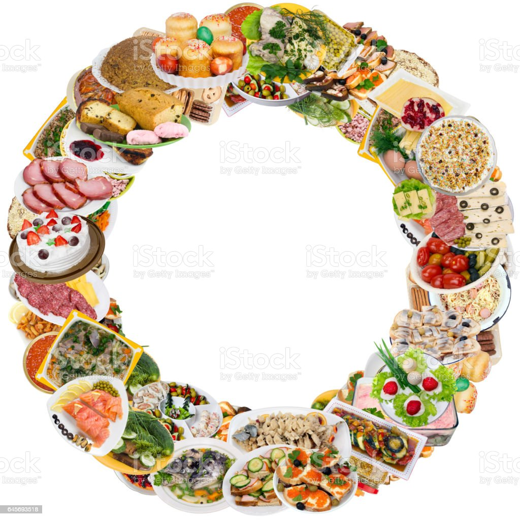 Simple food on plates in rustic rural style round frame. Isolated set. stock photo