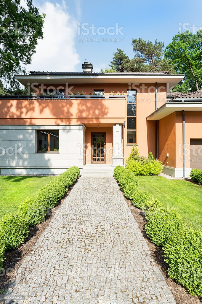 Simple form of a luxurious detached house stock photo