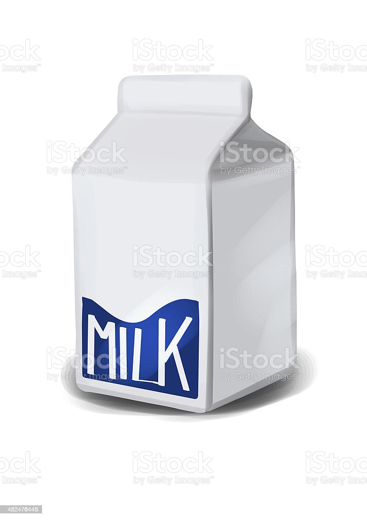 Simple, generic milk box illustration, front view with neutral label stock photo
